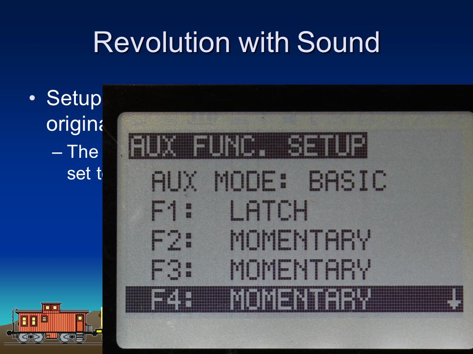 Revolution with Sound Setup and linking is identical to that of the original with one exception.