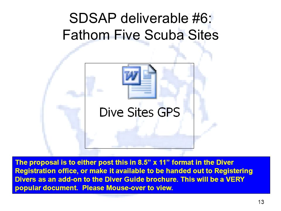 SDSAP deliverable #6: Fathom Five Scuba Sites