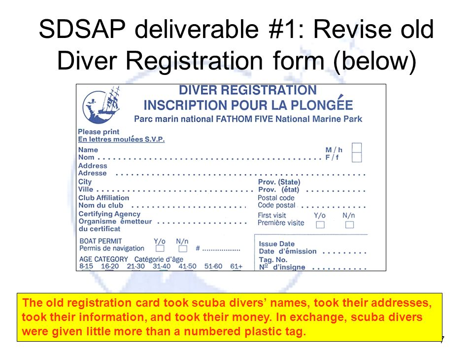 SDSAP deliverable #1: Revise old Diver Registration form (below)