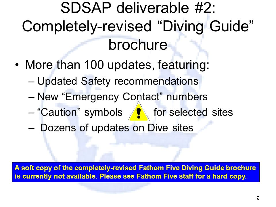 SDSAP deliverable #2: Completely-revised Diving Guide brochure