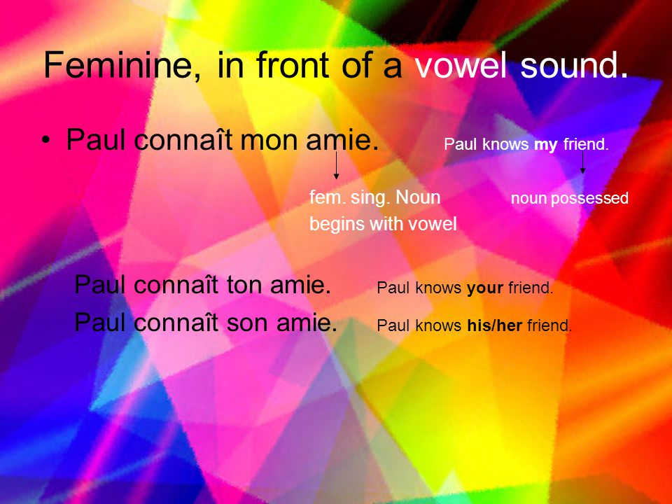 Feminine, in front of a vowel sound.
