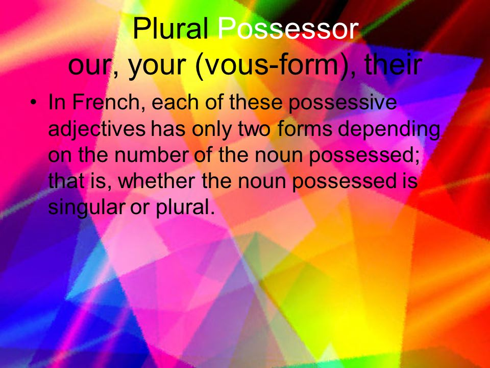 Plural Possessor our, your (vous-form), their