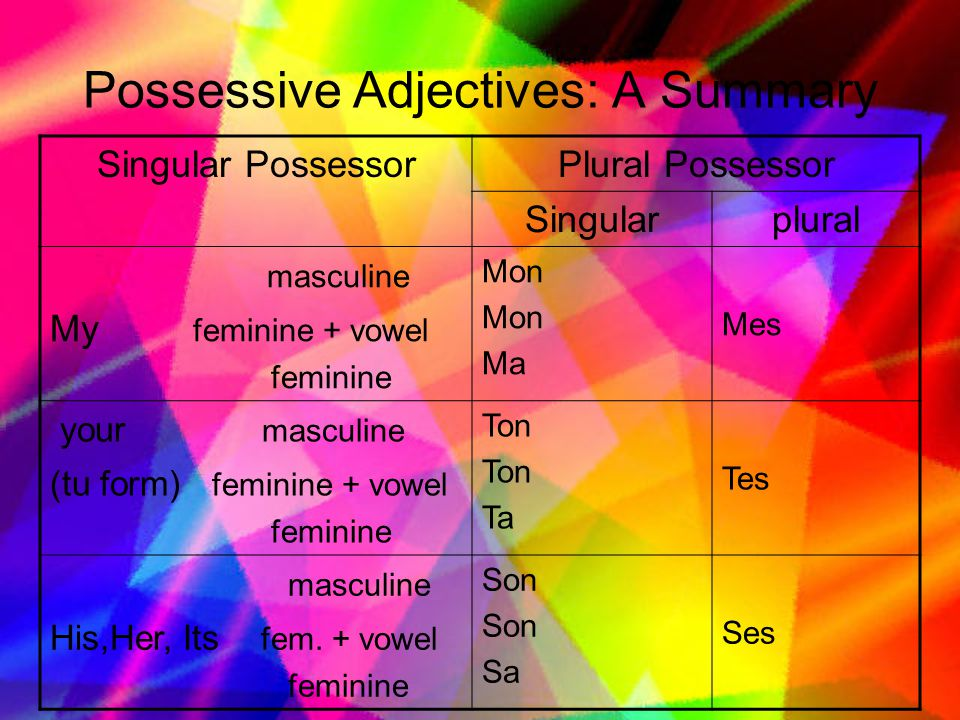 Possessive Adjectives: A Summary