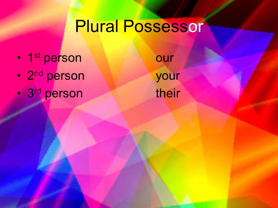 Plural Possessor 1st person our 2nd person your 3rd person their