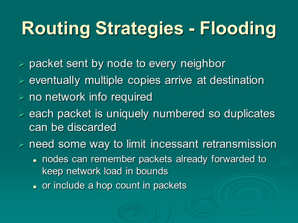 Routing Strategies - Flooding