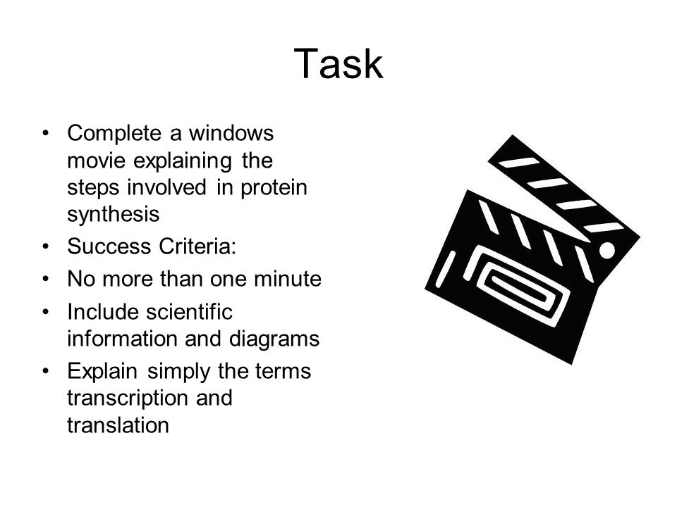 Task Complete a windows movie explaining the steps involved in protein synthesis. Success Criteria: