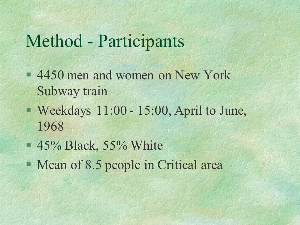 Method - Participants 4450 men and women on New York Subway train