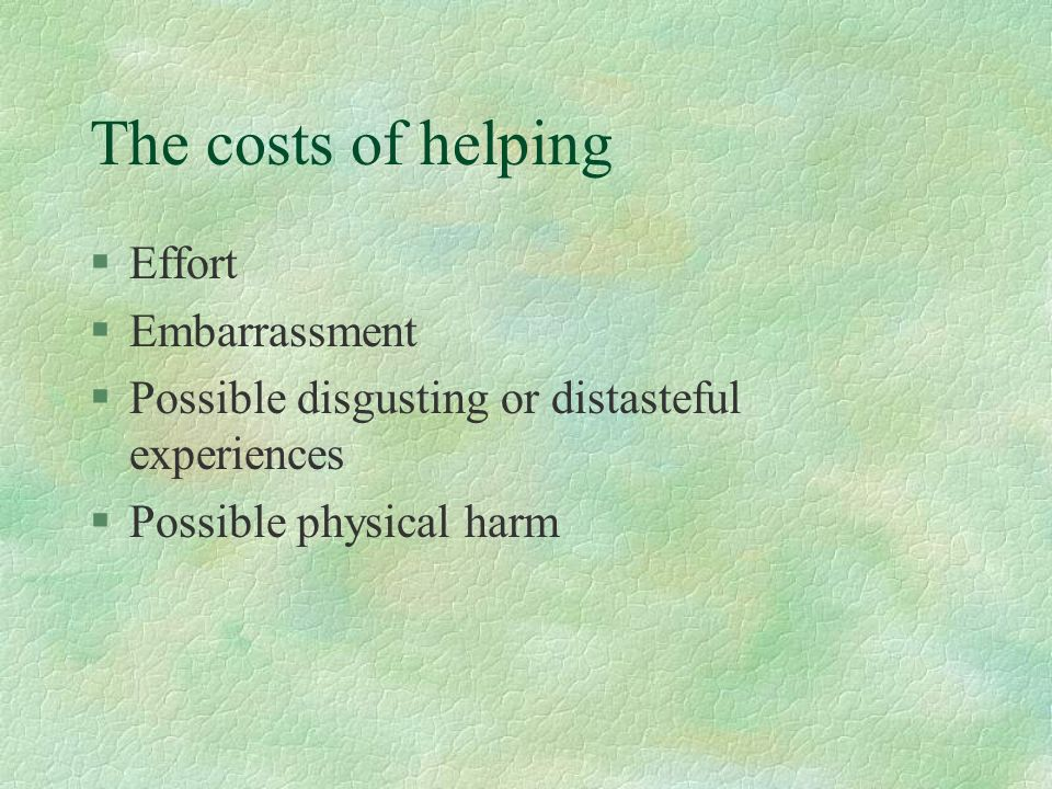 The costs of helping Effort Embarrassment