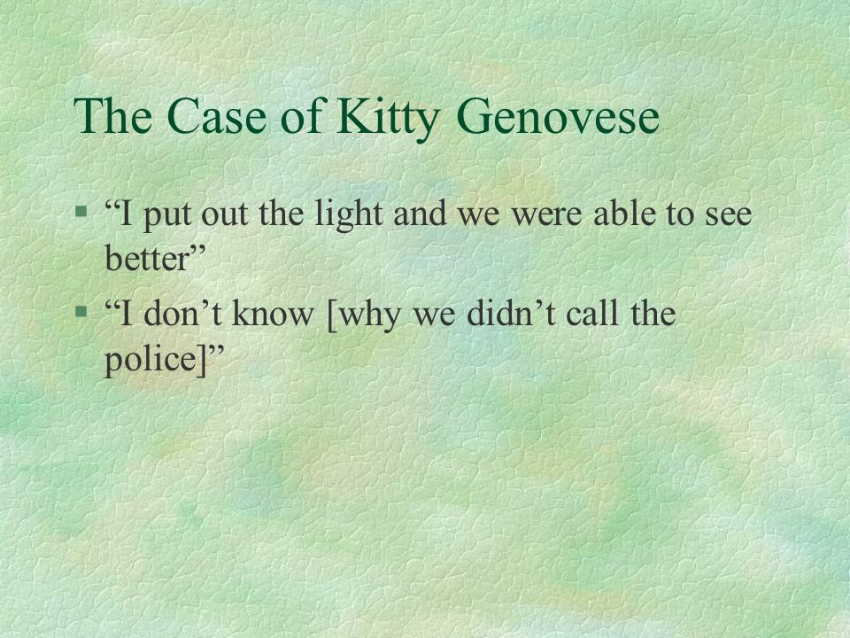 The Case of Kitty Genovese