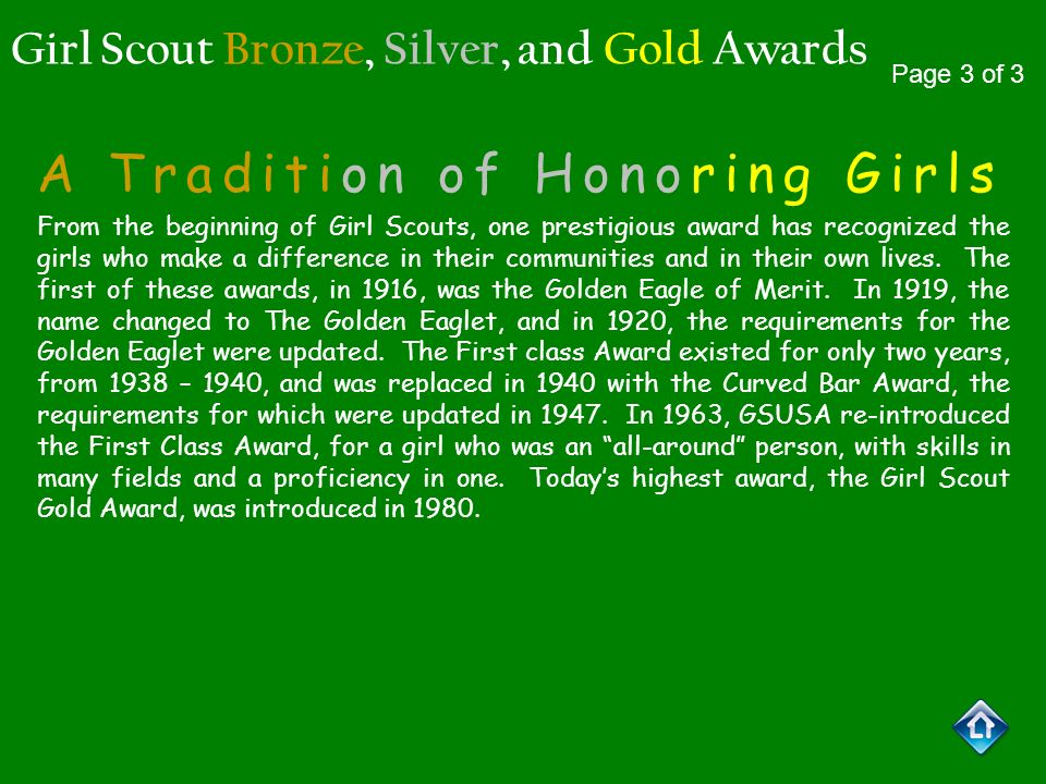 Girl Scout Bronze, Silver, and Gold Awards