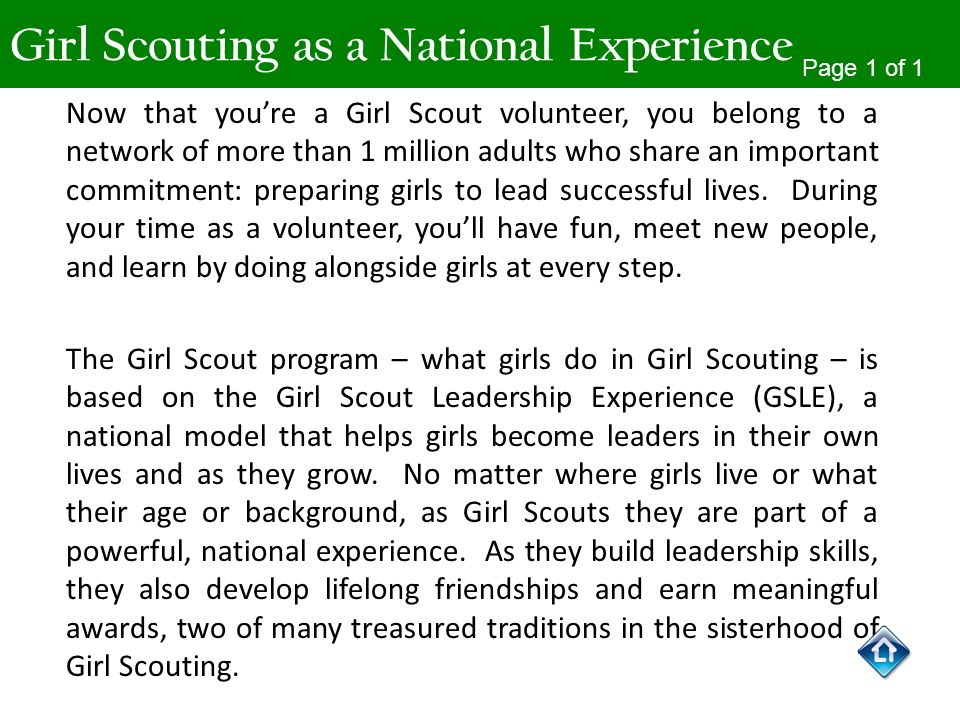 Girl Scouting as a National Experience