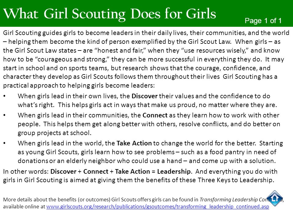 What Girl Scouting Does for Girls