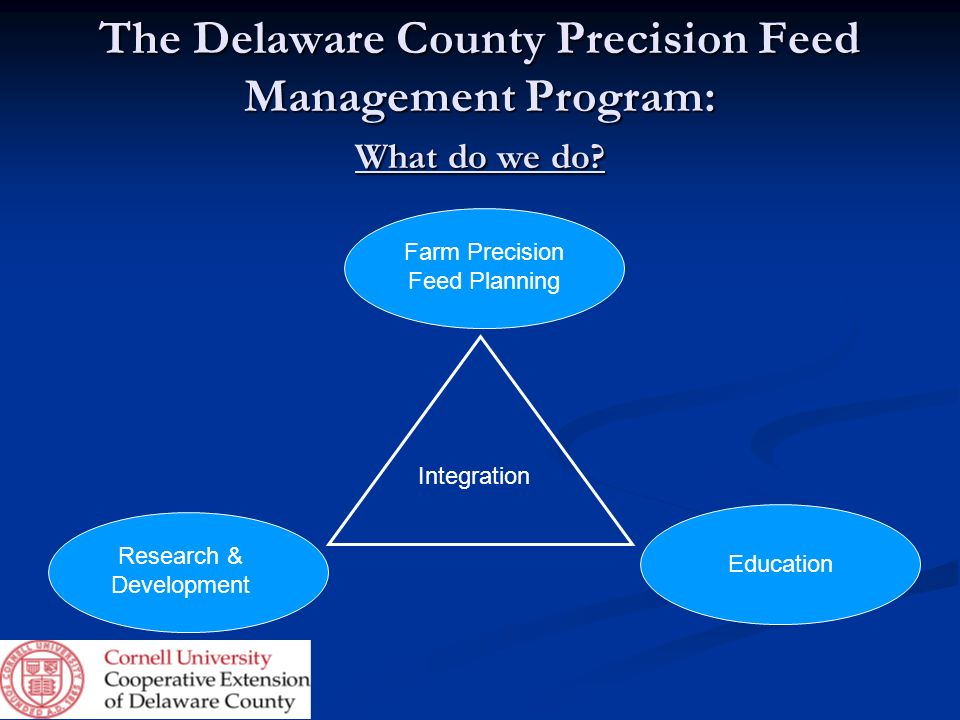 The Delaware County Precision Feed Management Program: What do we do