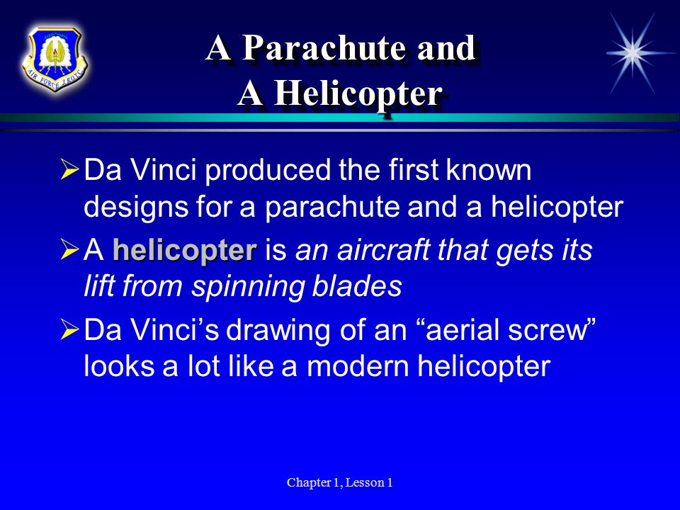 A Parachute and A Helicopter