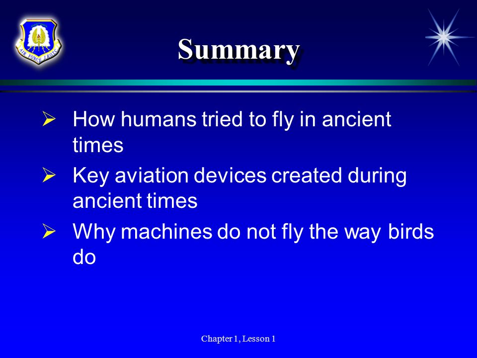 Summary How humans tried to fly in ancient times