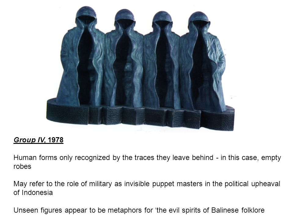 Group IV, 1978 Human forms only recognized by the traces they leave behind - in this case, empty robes.
