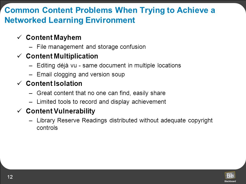 Common Content Problems When Trying to Achieve a Networked Learning Environment