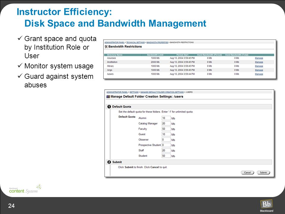 Instructor Efficiency: Disk Space and Bandwidth Management