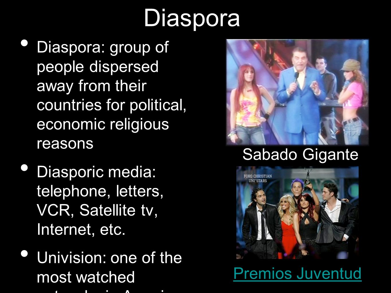 Diaspora Diaspora: group of people dispersed away from their countries for political, economic religious reasons.