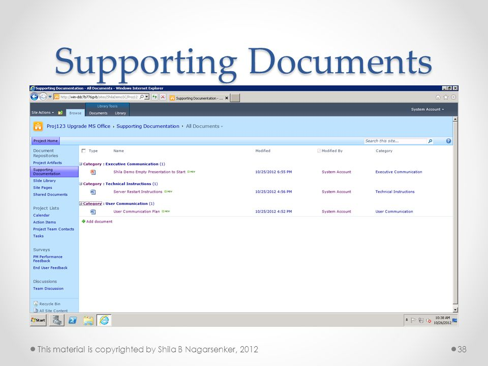 Supporting Documents This material is copyrighted by Shila B Nagarsenker, 2012