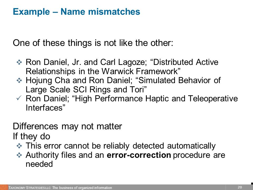 Example – Name mismatches