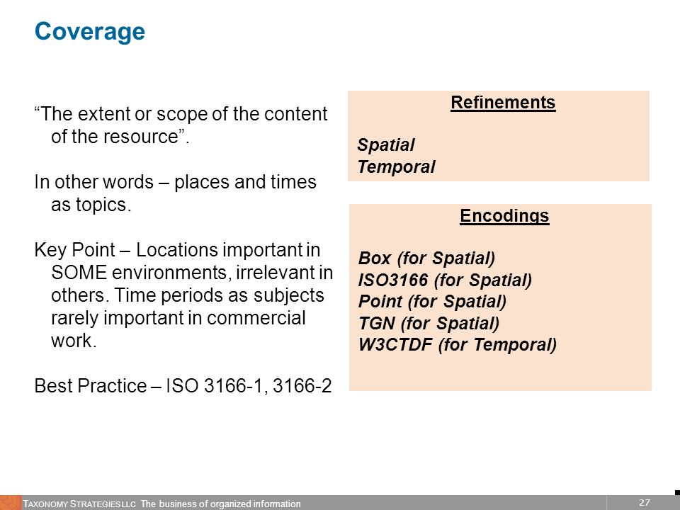 Coverage The extent or scope of the content of the resource .