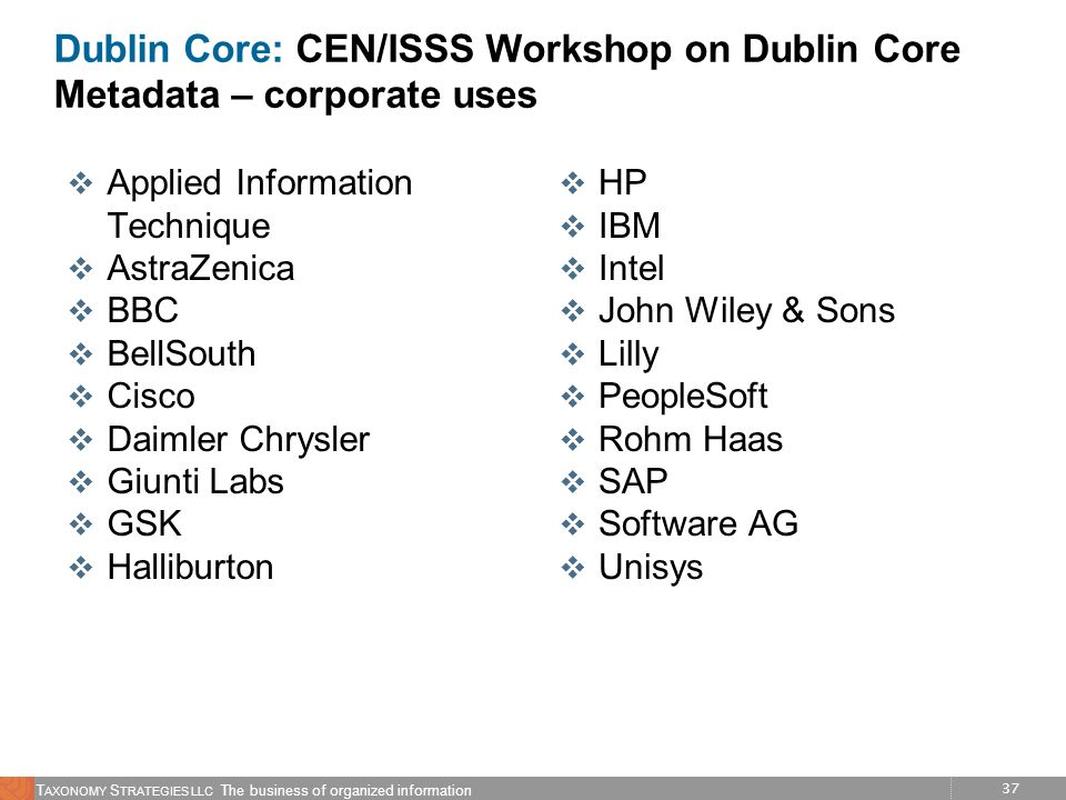 Dublin Core: CEN/ISSS Workshop on Dublin Core Metadata – corporate uses