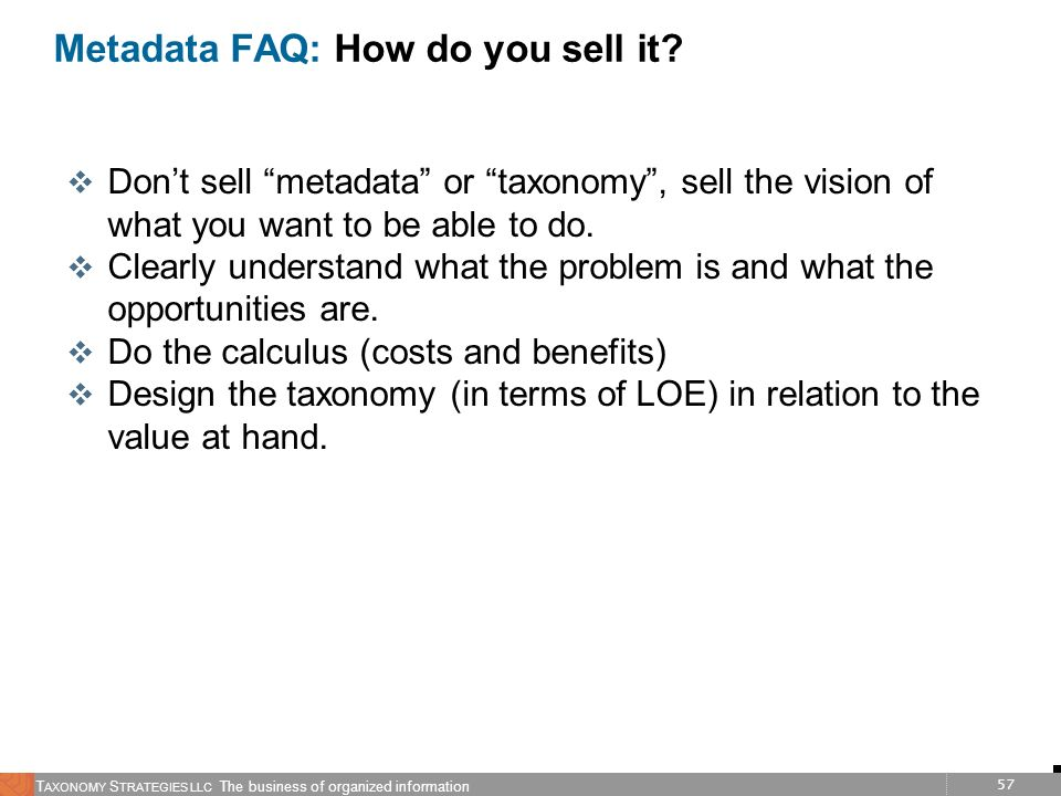 Metadata FAQ: How do you sell it