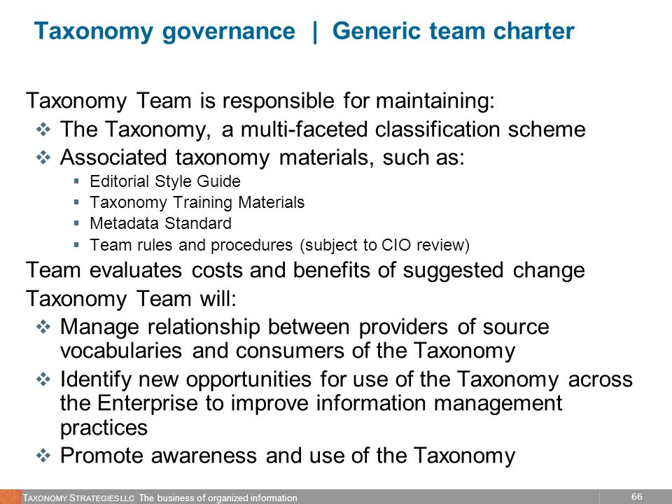 Taxonomy governance | Generic team charter