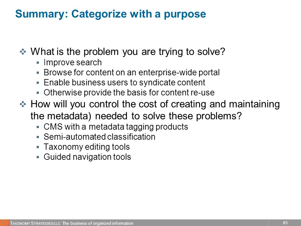 Summary: Categorize with a purpose
