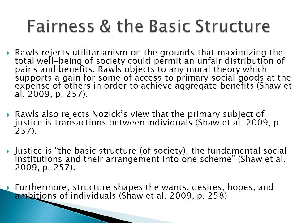 Fairness & the Basic Structure