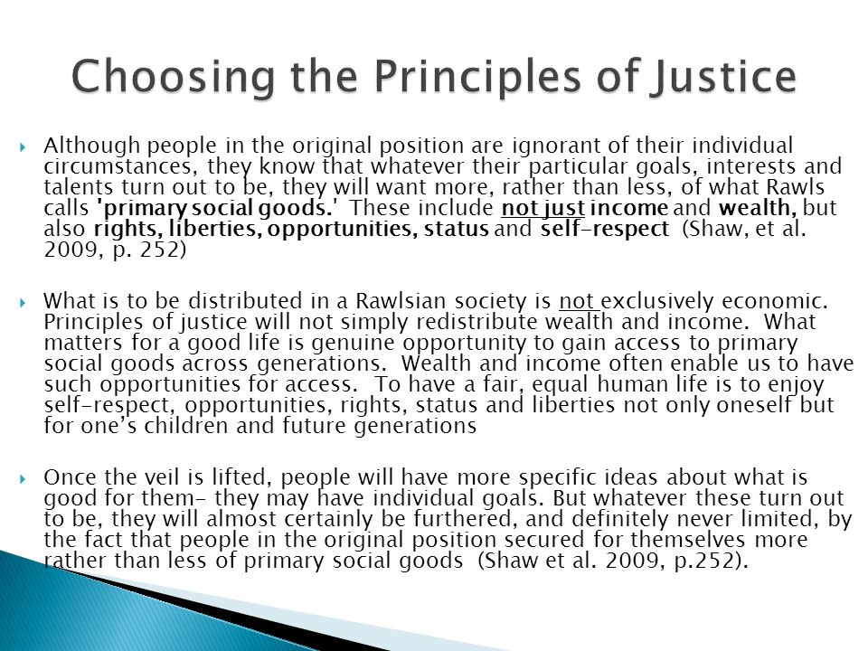Choosing the Principles of Justice