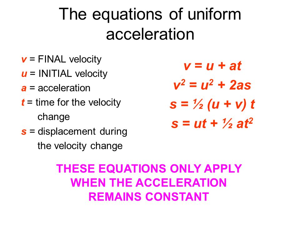 The equations of uniform acceleration