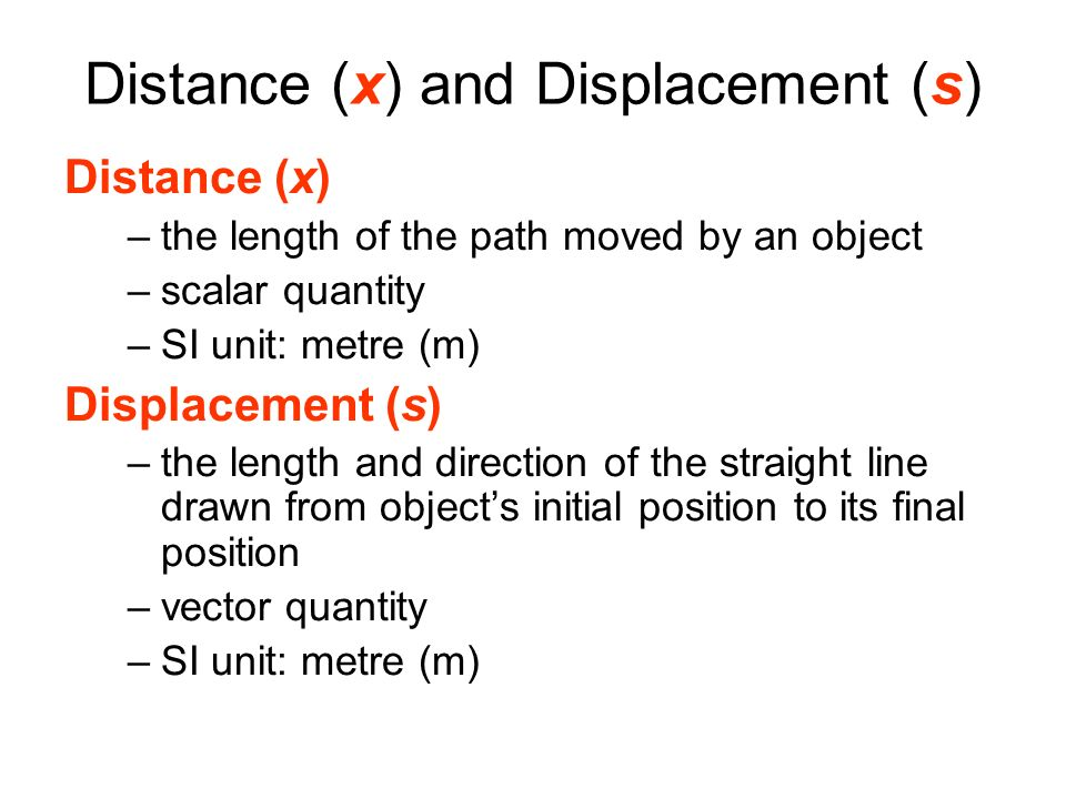 Distance (x) and Displacement (s)