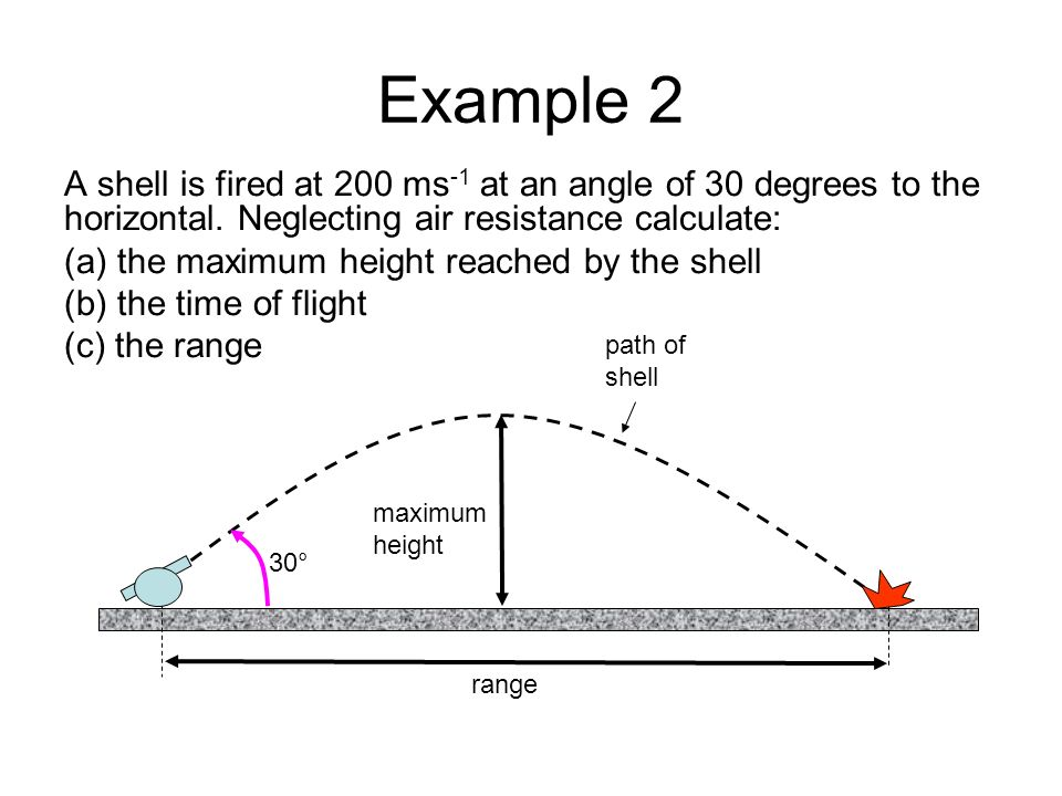 Example 2 A shell is fired at 200 ms-1 at an angle of 30 degrees to the horizontal. Neglecting air resistance calculate: