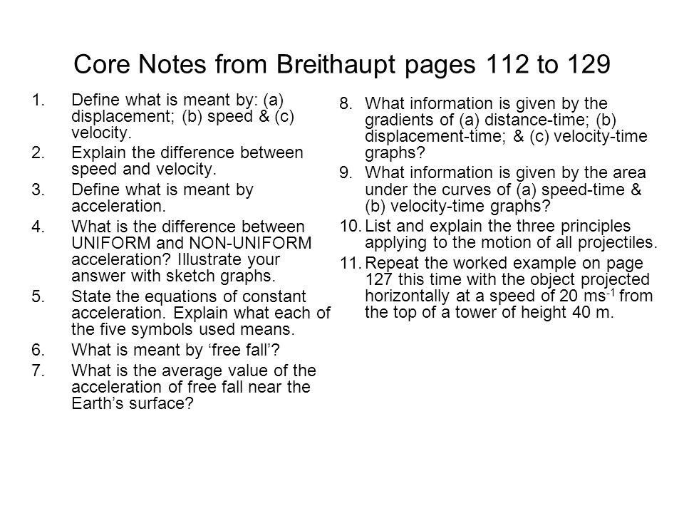 Core Notes from Breithaupt pages 112 to 129