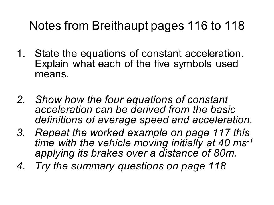 Notes from Breithaupt pages 116 to 118