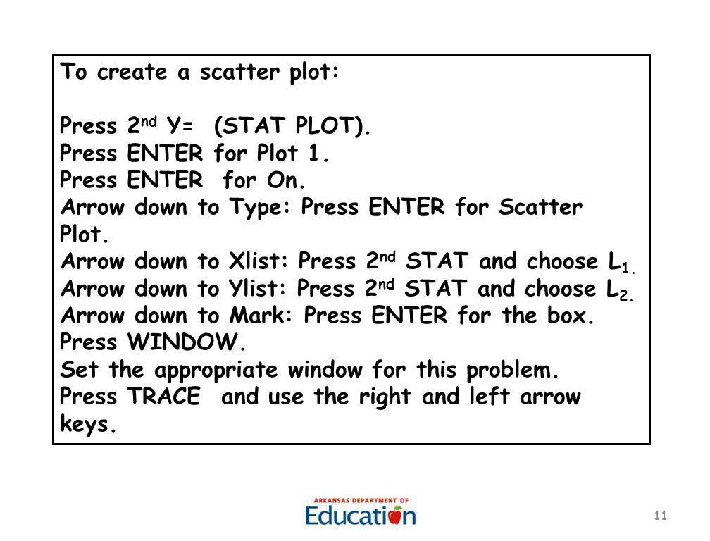 To create a scatter plot: