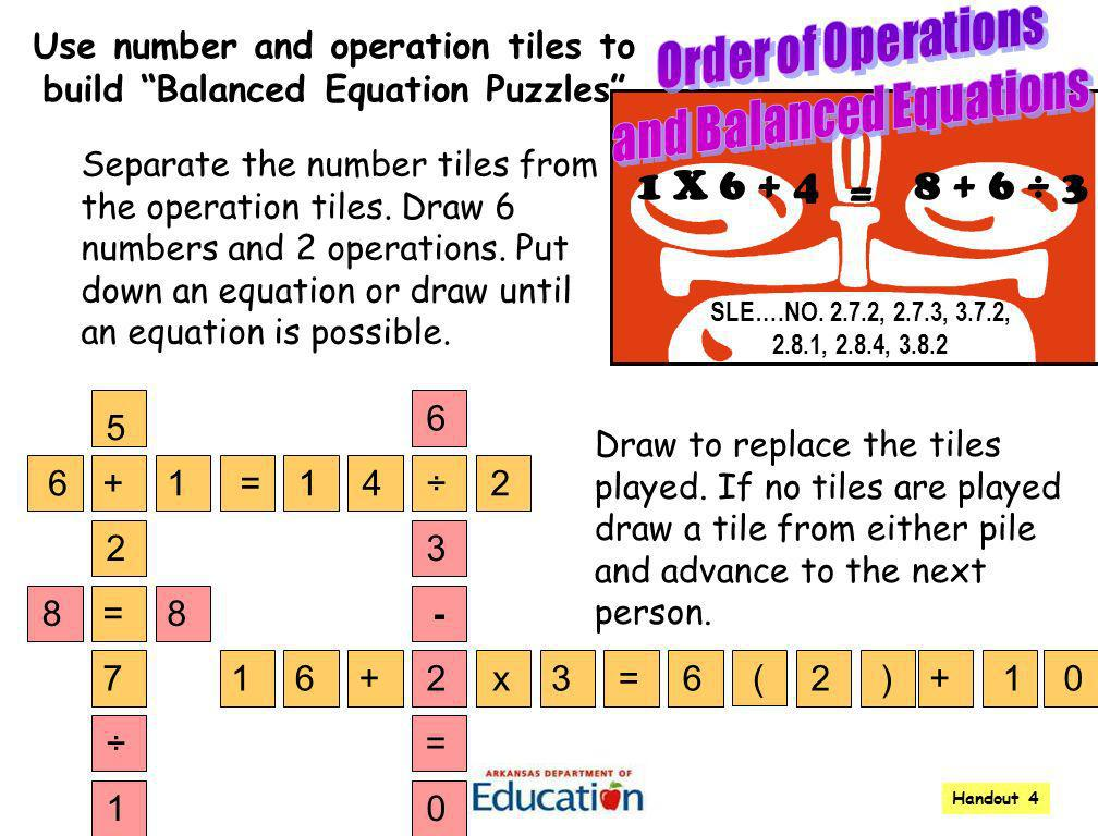 Order of Operations and Balanced Equations