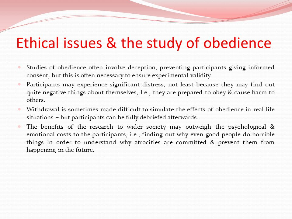 Ethical issues & the study of obedience