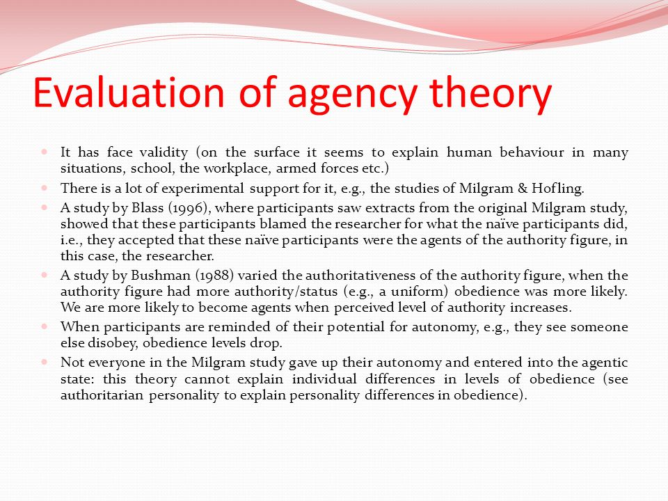 Evaluation of agency theory