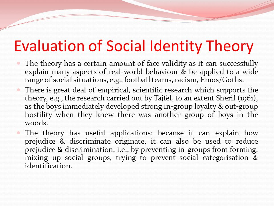 Evaluation of Social Identity Theory