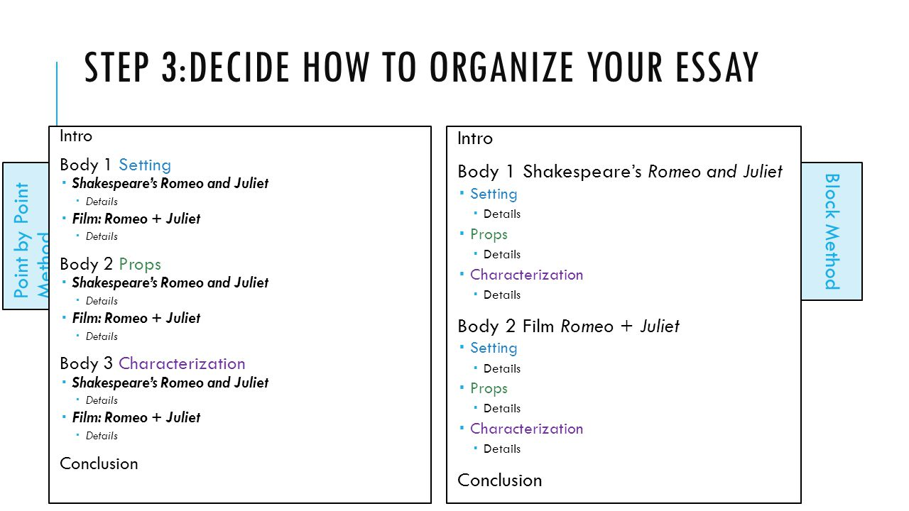 Step 3:Decide how to organize your essay