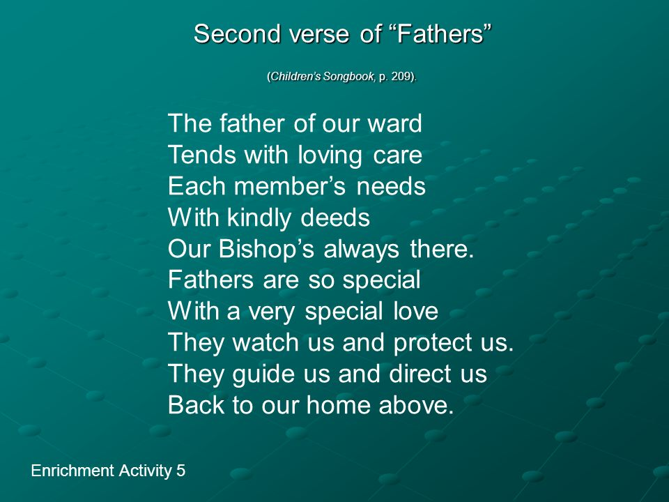 Second verse of Fathers