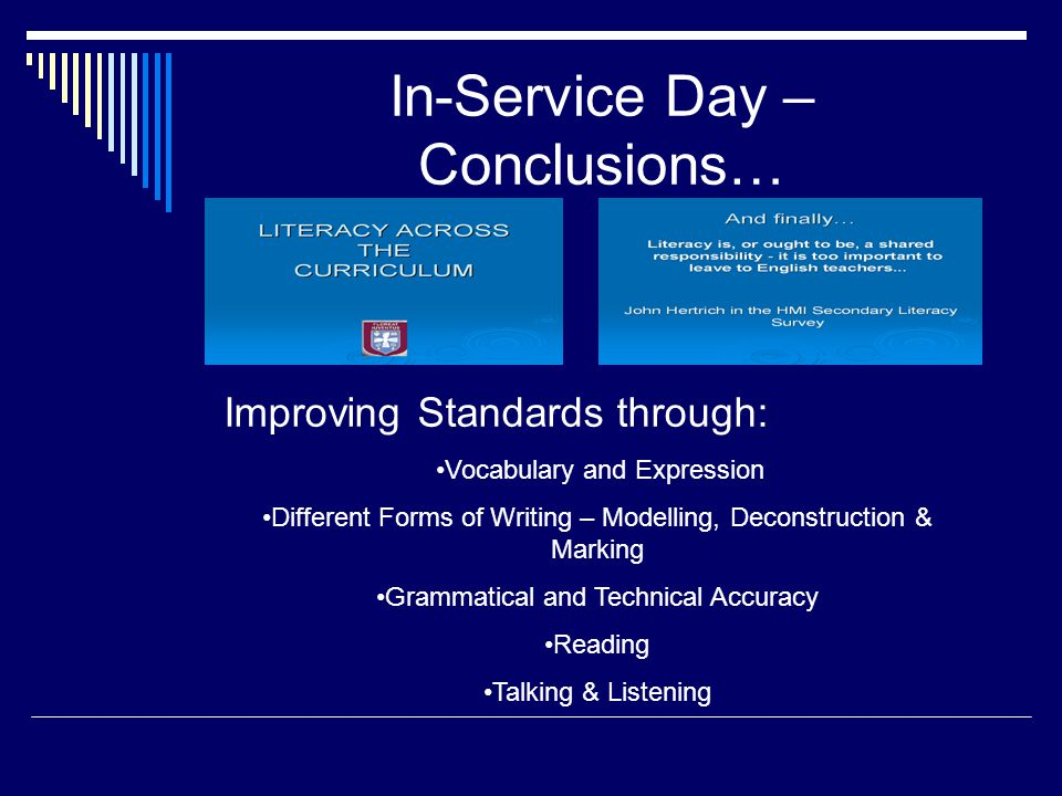 In-Service Day – Conclusions…