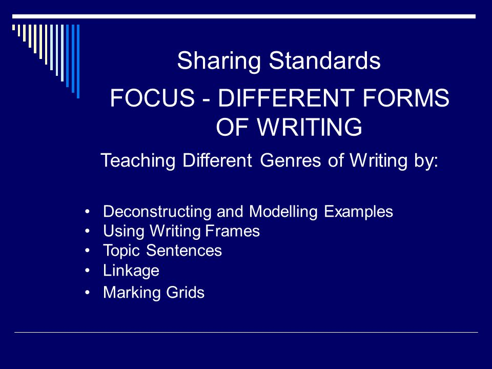 FOCUS - DIFFERENT FORMS OF WRITING