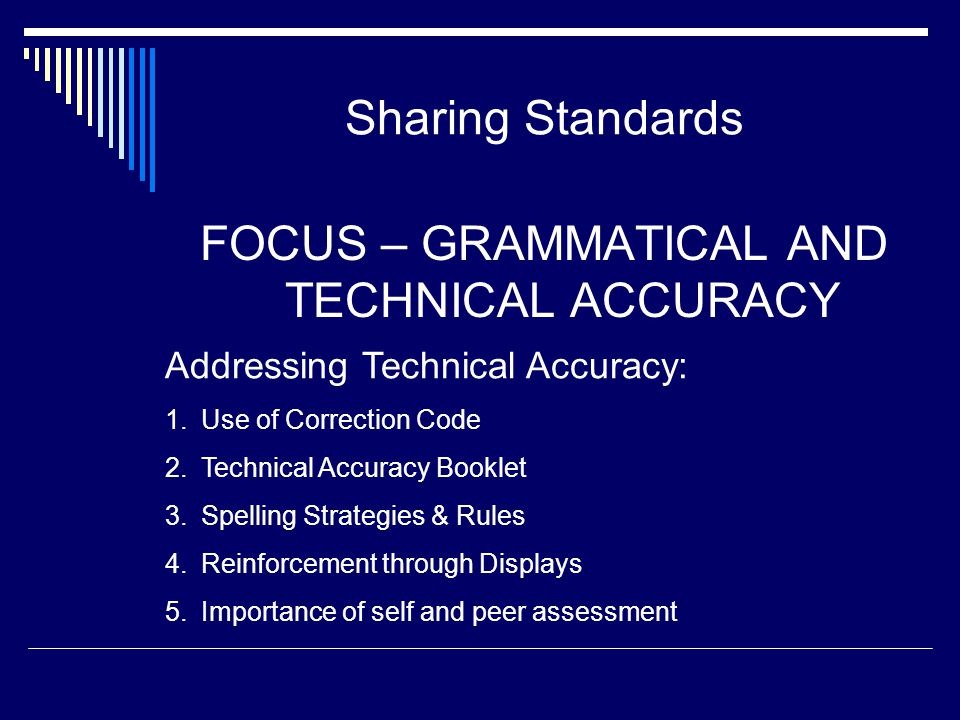 FOCUS – GRAMMATICAL AND TECHNICAL ACCURACY