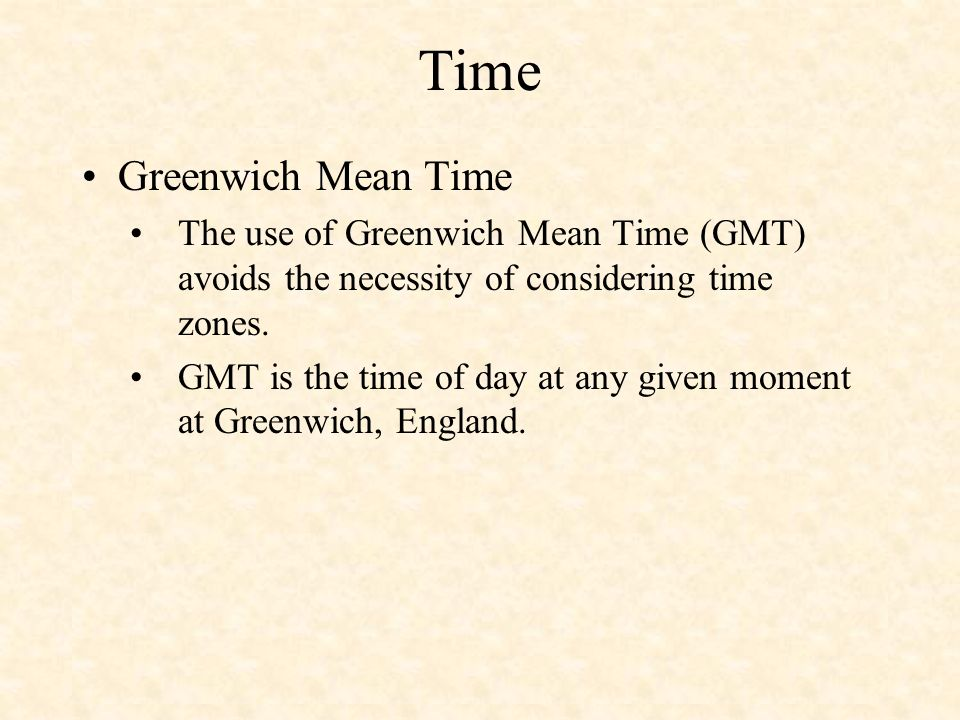 Time Greenwich Mean Time