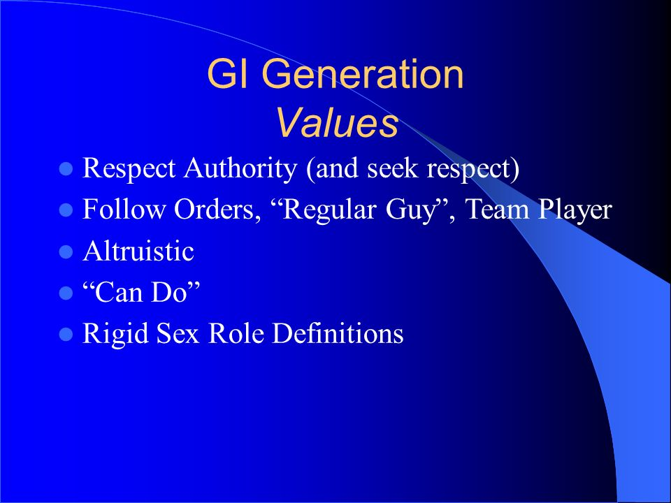 GI Generation Values Respect Authority (and seek respect)