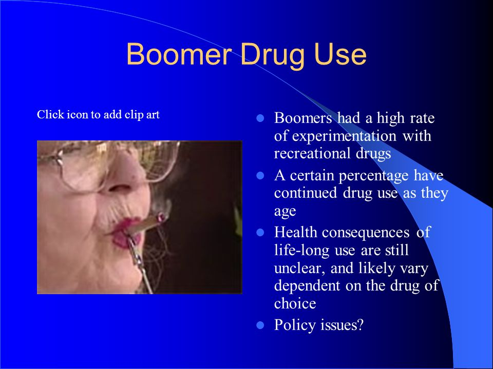 3737 Boomer Drug Use. Boomers had a high rate of experimentation with recreational drugs.